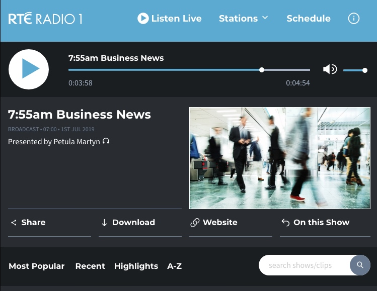 RTE – Radio 1 Business News